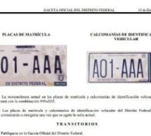 Nuevas placas de circulación tendrán otra nomenclatura en el DF para 2015